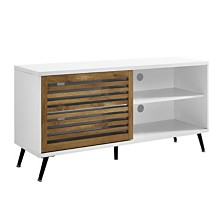"52"" TV Console with Sliding Door - White/Barnwood"