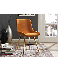 Upholstered Linen Side Chair, Set of 2 - Orange