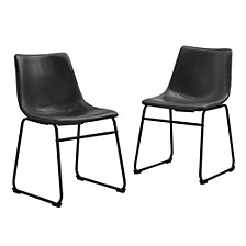 Faux Leather Dining Kitchen Chairs, Set of 2 - Black
