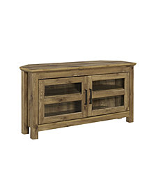 "44"" Wood Corner TV Media Stand Storage Console - Barnwood"