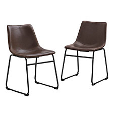 "18"" Industrial Faux Leather Dining Chair, set of 2 - Brown"
