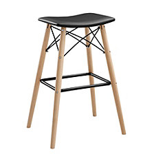 "30"" Retro Modern Faux Leather Solid Wood Metal Kitchen Bar Height Stool – Black"