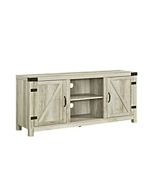 "58"" Farmhouse TV Stand with Barn Door Side Doors - White Oak"