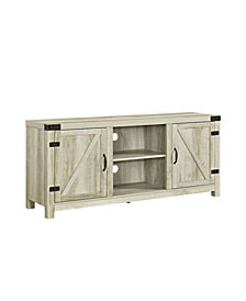 "58"" Rustic Farmhouse Barn Door TV Stand Storage Console with Side Doors - White Oak"