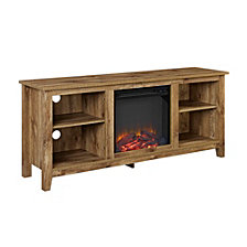 "58"" Wood TV Stand Console with Fireplace - Barnwood"