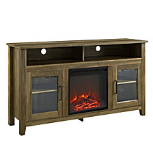"""58"""" Transitional Wood Highboy TV Stand with Electric Fireplace Insert - Rustic Oak"""