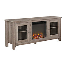 "58"" Wood Media TV Stand Console with Fireplace - Driftwood"