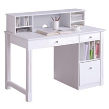 Home Office Deluxe White Wood Storage Computer Desk with Hutch