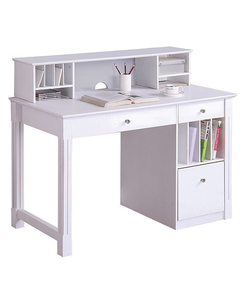 Home Office Deluxe White Wood Storage Computer Desk With