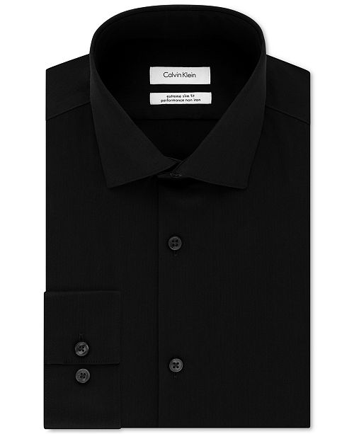 Calvin Klein Calvin Klein Men's STEEL Extra-Slim Fit Non-Iron Performance Stretch Herringbone Dress Shirt