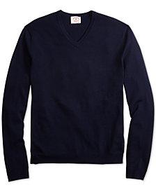 Brooks Brothers Men's Red Fleece Merino Wool V-Neck Sweater