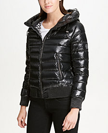 DKNY Packable Hooded Bomber Puffer Coat