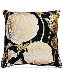 "THRO Wesley Floral Foil 20"" x 20"" Printed Faux Linen Decorative Pillow"