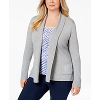 Karen Scott Textured Shawl-Collared Cardigan Sweater