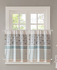 "Madison Park Dawn Cotton 60"" x 24"" Printed and Pieced Rod Pocket Kitchen Tiers"