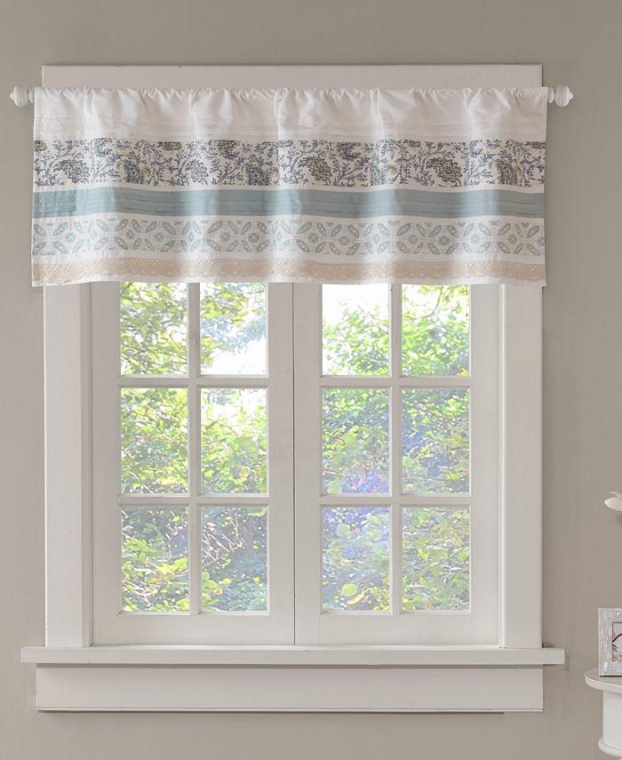 "Madison Park - Dawn Cotton 50"" x 18"" Printed and Pieced Rod Pocket Window Valance"