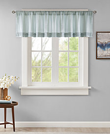"Madison Park Emily 50"" x 18"" Faux Silk Solid Pleated Rod Pocket Window Valance"