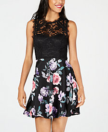 City Studios Juniors' Lace & Floral Fit & Flare Dress
