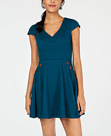 City Studios Juniors' Textured Sailor-Button Fit & Flare Dress