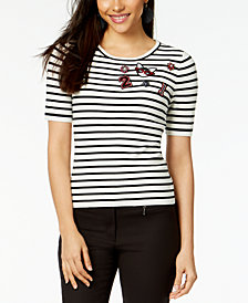 Maison Jules  Embellished Sweater Knit Top, Created for Macy's