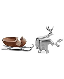 Mini Sleigh with Reindeer 3-Pc. Set