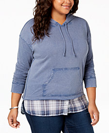 Style & Co Plus Size Layered-Look Hoodie, Created for Macy's