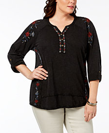 Style & Co Plus Size Cotton Embroidered Distressed Peasant Top, Created for Macy's