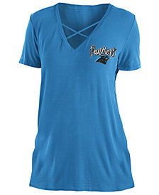 5th & Ocean Women's Carolina Panthers Cross V T-Shirt