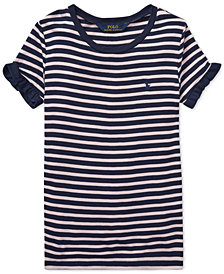 Polo Ralph Lauren Big Girls Striped Ruffled T-Shirt