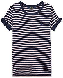Polo Ralph Lauren Big Girls Striped Ruffled T-Shirt