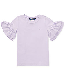 Polo Ralph Lauren Little Girls Ruffled-Sleeve Crew-Neck T-Shirt