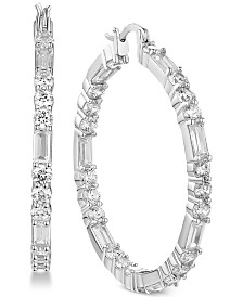 Tiara Cubic Zirconia Baguette Large Hoop Earrings in Sterling Silver