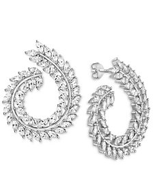 Cubic Zirconia Swirl Drop Earrings in Sterling Silver
