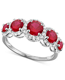 Simulated Ruby and Cubic Zirconia Ring in Sterling Silver