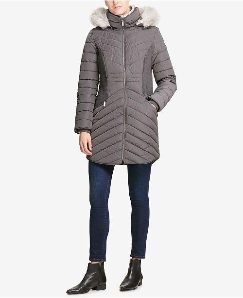 3da4b5a0d DKNY Faux-Fur-Trim Hooded Puffer Coat, Created for Macy's & Reviews ...