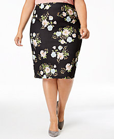 ECI Plus Size Floral-Print Pencil Skirt