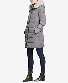 DKNY Petite Faux-Fur-Trim Hooded Puffer Coat, Created for Macy's