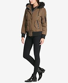 DKNY Faux-Fur-Trim Camo-Print Bomber Coat, Created for Macy's