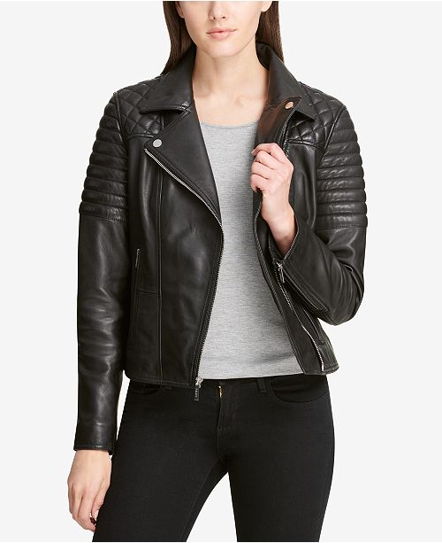 Dkny Quilted Shoulder Leather Moto Jacket Coats Women Macys