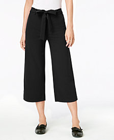 Maison Jules Pull-On Tie-Waist Cropped Pants, Created for Macy's