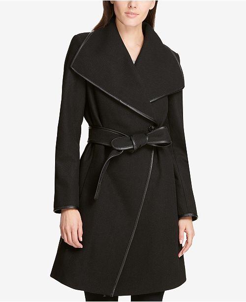 79a33c9a0d1c4 DKNY Petite Faux-Leather-Trim Wrap Coat