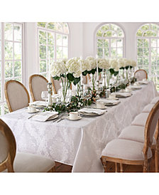 "Elrene Barcelona Damask White 60"" x 144"" Oblong Tablecloth"