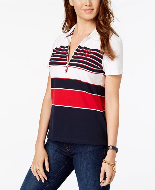 950f7208 ... Tommy Hilfiger Striped Quarter-Zip Polo Shirt, Created for Macy's ...