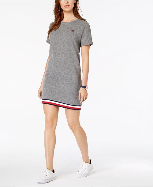 9f64918040b Tommy Hilfiger Striped-Hem Sweatshirt Dress   Reviews - Dresses ...