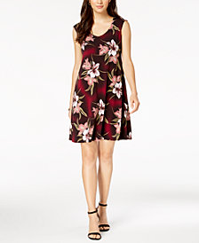 Connected V-Neck Floral Printed Stretch Dress