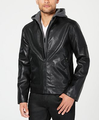 Guess Men S Faux Leather Moto Jacket With Removable Hood Coats