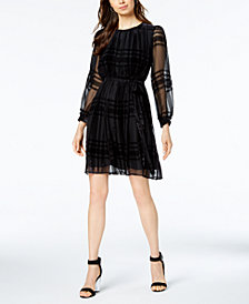Taylor Belted Plaid Velvet Dress