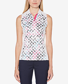PGA TOUR Printed AirFlux Sleeveless Golf Polo