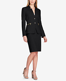 Tahari ASL Star-Neck Skirt Suit, Regular & Petite