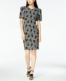 Calvin Klein Puff-Sleeve Printed Sheath Dress